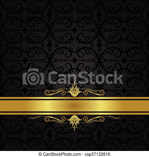 seamless black floral wallpaper and gold ribbon seamless black
