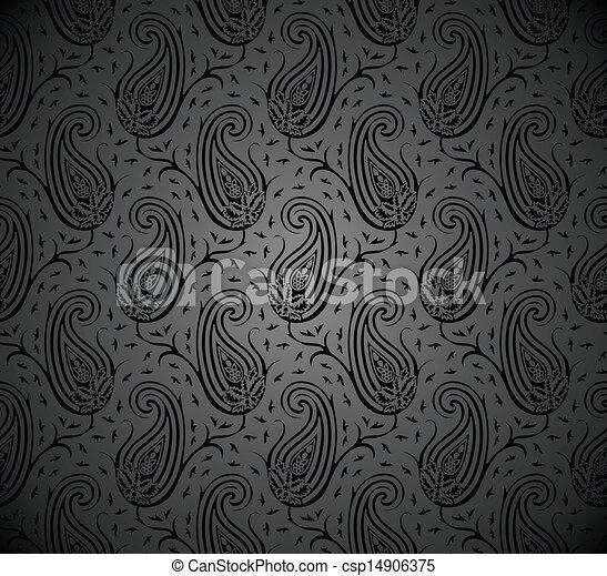 Seamless Black Paisley Wallpaper