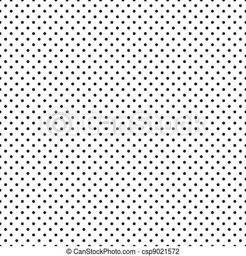 Seamless Black Polka Dots on White  - csp9021572