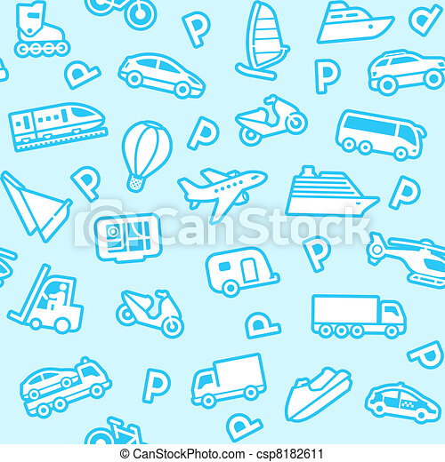 Seamless blue background, white transport icons - csp8182611