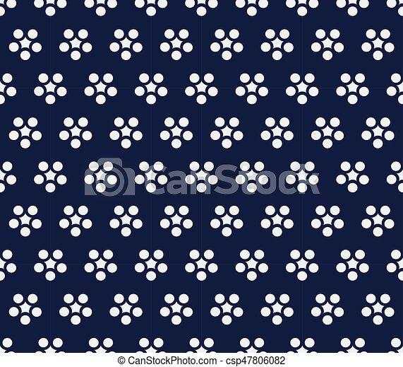 Seamless Blue Chinese Background retro round flower chintz - csp47806082