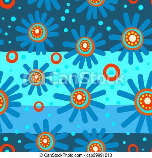 Seamless Blue Floral Pattern - csp39991213