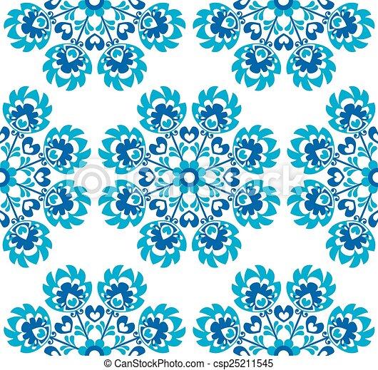 Seamless blue floral Polish pattern - csp25211545