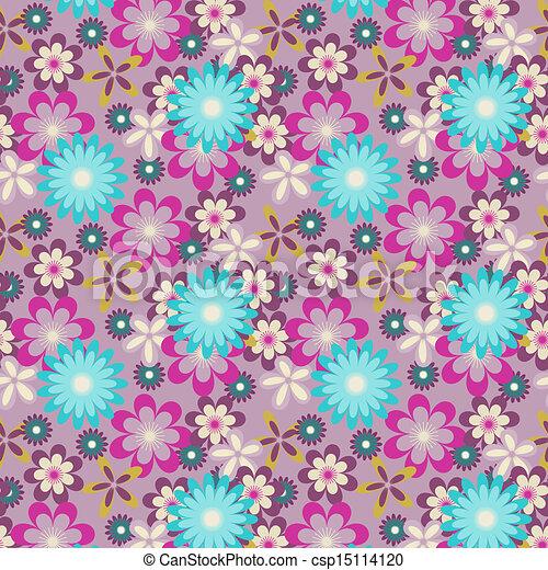 Seamless Blue Flowers On Light Purple Background Vector