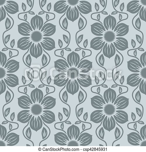 Seamless blue grey flower vector background. - csp42845931