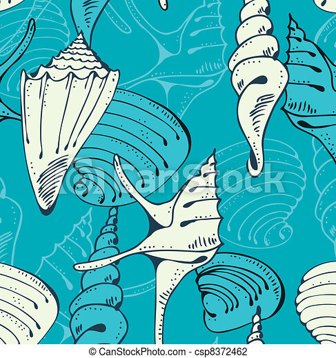 Seamless blue pattern with shells - csp8372462