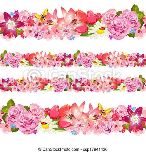 Seamless border of beauty flowers. Set - csp17941436