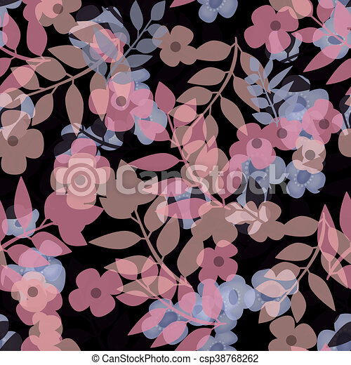Seamless bright floral pattern on black - csp38768262