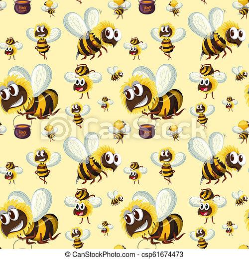 Seamless bumble bee pattern - csp61674473