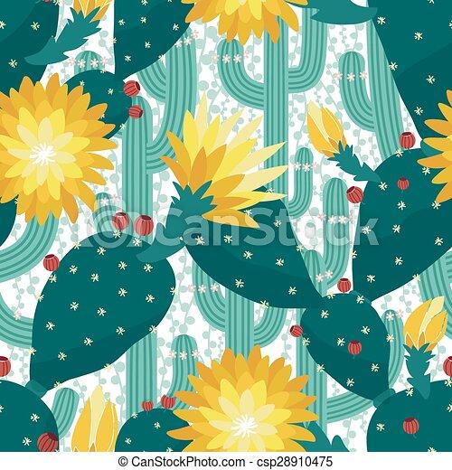 Seamless cactus background - csp28910475