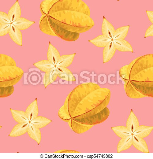 seamless carambola fruit seamless pattern with star fruit
