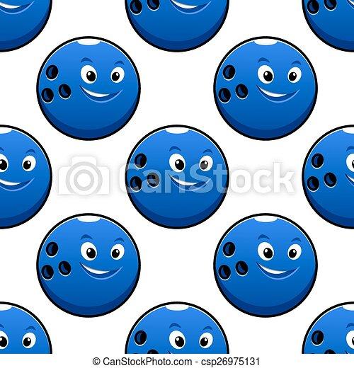 Seamless cartoon blue bowling ball characters pattern - csp26975131