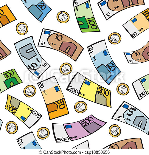 Seamless Cartoon Euros A Seamless Pattern Of Euro Bills And Coins