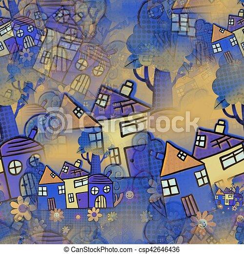 Seamless Cartoon House Background