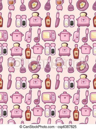seamless cartoon kitchen pattern - csp6387825