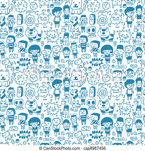 seamless cartoon pattern - csp8987456