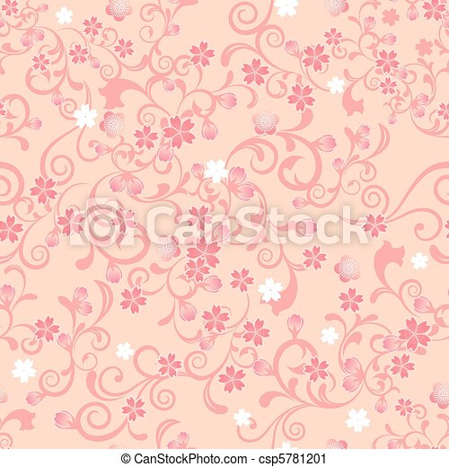 Seamless cherry blossom pattern - csp5781201