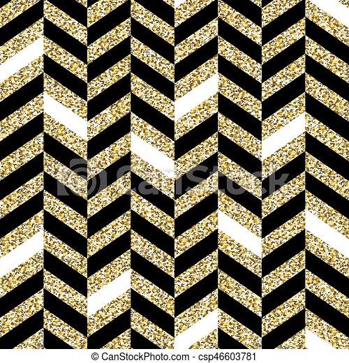 Seamless Chevron Pattern Glittering Golden Surface Black And Gold Extraordinary Cheveron Pattern