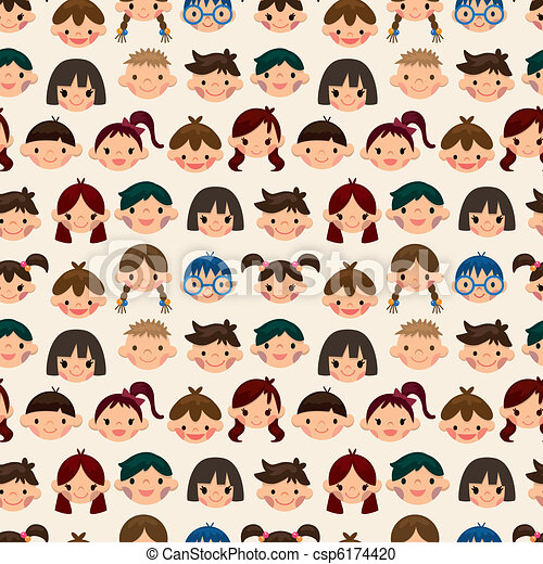 seamless child face pattern - csp6174420