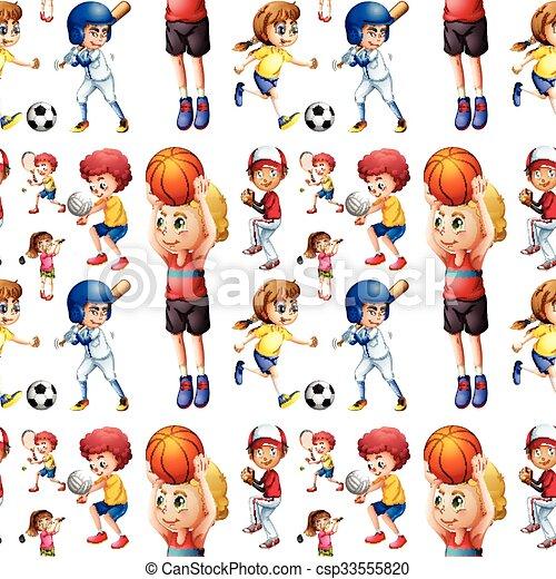 Seamless children playing sports - csp33555820