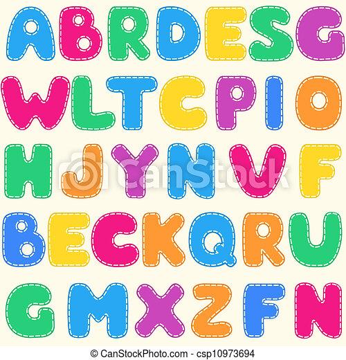 Seamless children's bright alphabet pattern - csp10973694