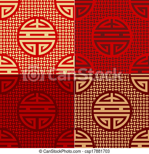 seamless chinese character pattern - csp17881703