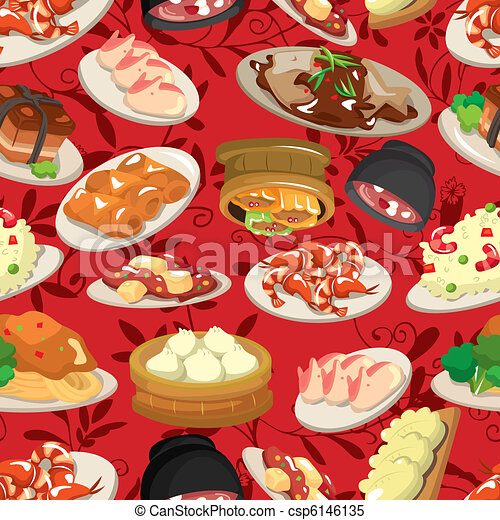 seamless chinese food pattern  - csp6146135