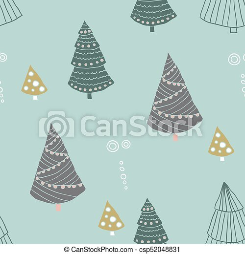 Seamless christmas pattern in scandinavian style, doodle vector illustration for textile design - csp52048831