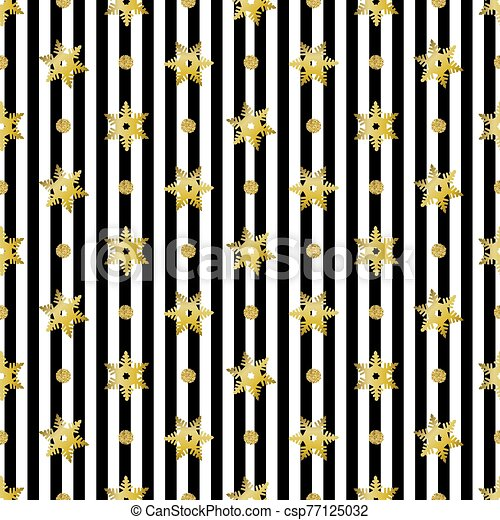 seamless christmas pattern with gold glitter snowflake and dot on stripe background - csp77125032