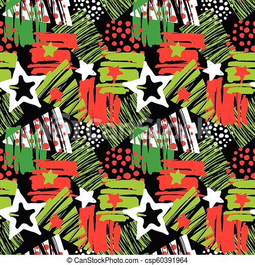 Seamless Christmas repeating hand craft expressive ink pattern. - csp60391964