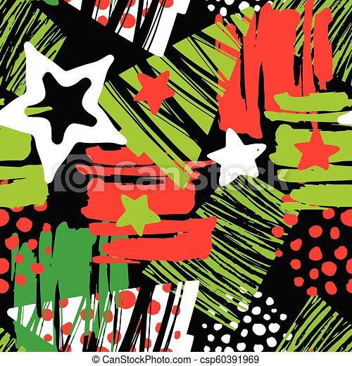 Seamless Christmas repeating hand craft expressive ink pattern. - csp60391969