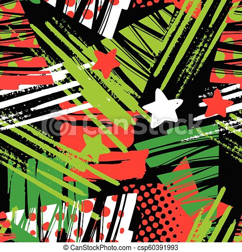 Seamless Christmas repeating hand craft expressive ink pattern. - csp60391993