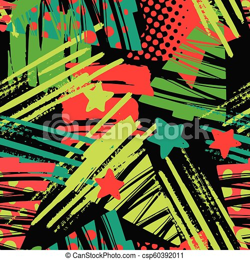 Seamless Christmas repeating hand craft expressive ink pattern. - csp60392011