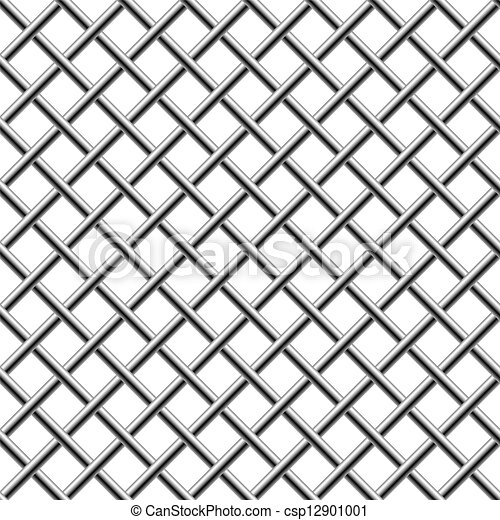 Seamless chrome braided diagonal grill isolated on white. - csp12901001