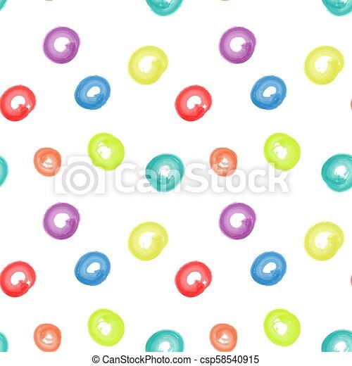 seamless circle art brush watercolor color pattern - csp58540915