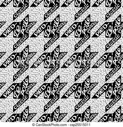 Seamless classic fabric houndstooth, pied-de-poule  pattern - csp25515011
