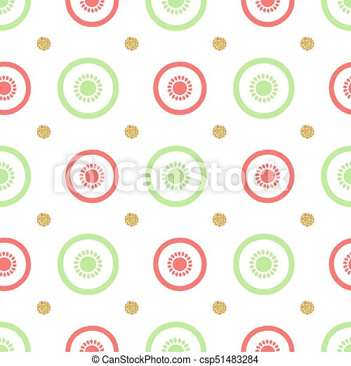 seamless colorful fruit with gold dot glitter pattern background - csp51483284