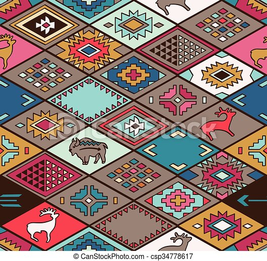 Seamless colorful navajo pattern with rhombus - csp34778617