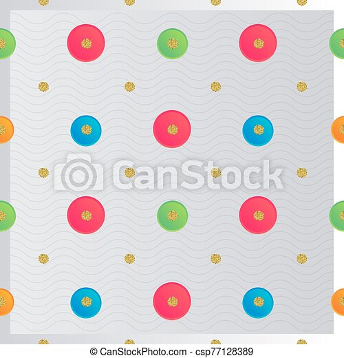 seamless colorful paper dot with gold glitter pattern background - csp77128389