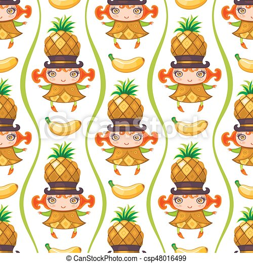 seamless colorful pattern with pineapple drawing csp48016499