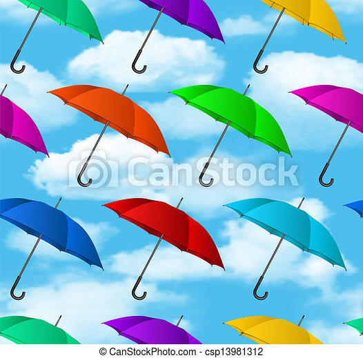 Seamless colorful umbrellas background - csp13981312
