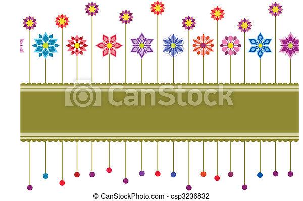 Seamless colourful floral retro border - csp3236832