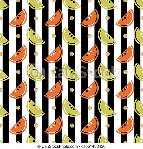 seamless colourful fruit with gold glitter dot pattern on stripe background - csp51483430