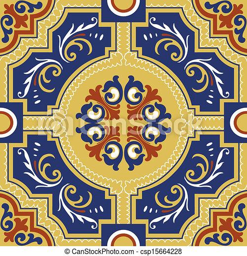 Seamless colourful ornament tiles - csp15664228
