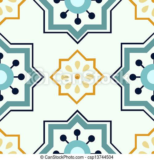 Seamless colourful ornament tiles - csp13744504