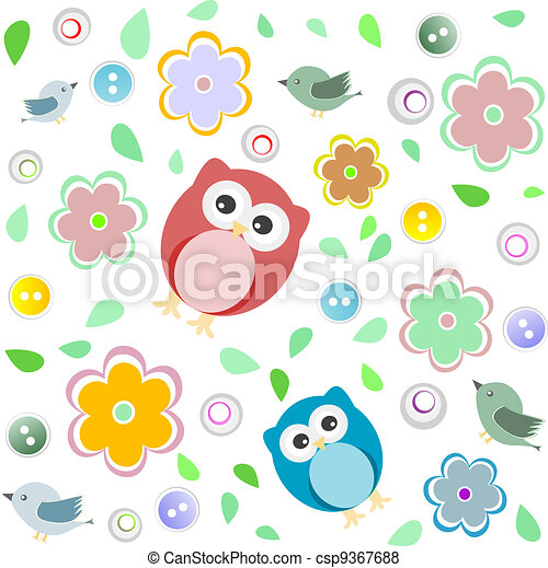 seamless colourful owl pattern for kids csp9367688 - Owl Pictures For Kids
