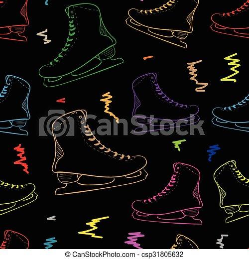 Seamless contours of the color skates - csp31805632