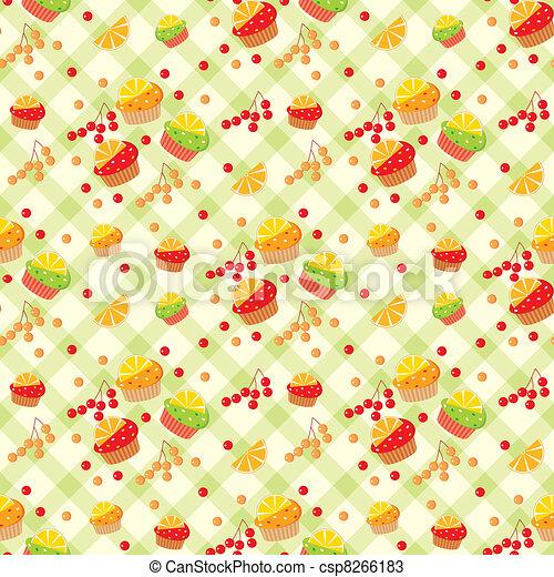Seamless cupcake pattern - csp8266183