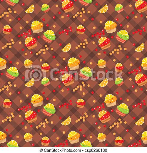 Seamless cupcake pattern - csp8266180