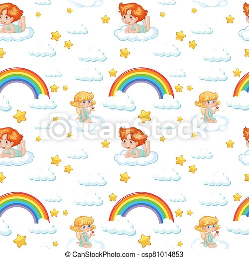 Seamless cute angel with rainbow and star pattern - csp81014853